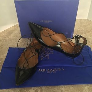 Aquazzura Patent laced up Ballet Christy flats